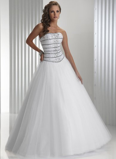 Luxe Fashion White Satin Strapless Prom Ball Gowns Floor Length Beadings