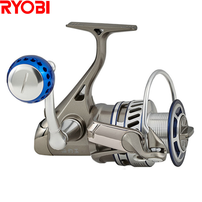 цена на 100% RYOBI 1000-8000 Spinning Fishing Reel 5.0:1/5.1:16+1BB CNC Handle Full Metal Saltwater Carretes Pesca Molinete Peche