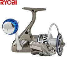 цены 100% RYOBI 1000-8000 Spinning Fishing Reel 5.0:1/5.1:16+1BB CNC Handle Full Metal Saltwater Carretes Pesca Molinete Peche