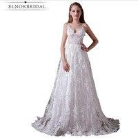 Sexy Backless Lace Wedding Dresses Beach 2018 Vestidos De Noiva Spaghetti Straps Sweep Train Custom Made