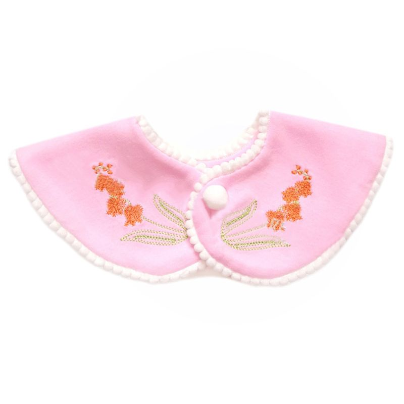 Premium Quality 360 Degree Rotating Round Baby Cotton Saliva Towel Kids Fake Collar Snap Button Drool Towels Embroidered Bib