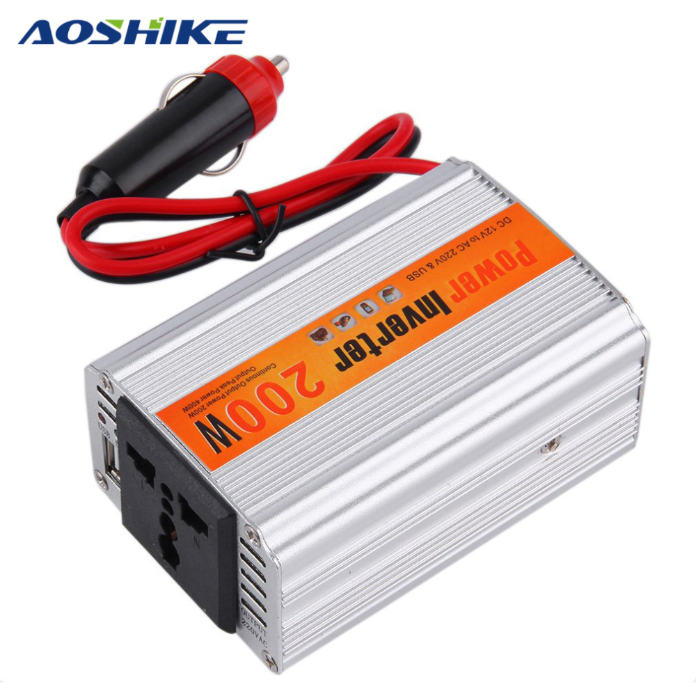 AOSHIKE 200W Car Inverter DC 12V to 220V With USB Car Charge Power Converter Voltage Adapter Auto Car Adaptor Switch Control