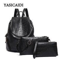New Alligator Women Backpack For Teenage Girls Female School Shoulder Bag Fashion Plecak Female Rugzak 3pcs