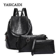 New Alligator Women Backpack for Teenage Girls Female School Shoulder Bag Fashion Plecak Female Rugzak 3pcs Backpack Set