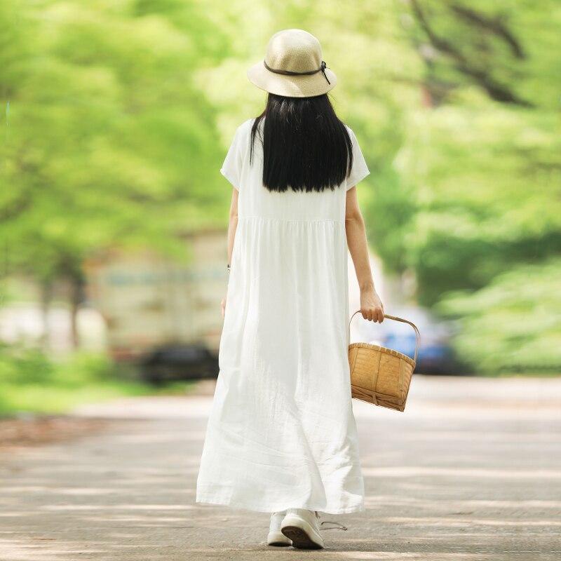 LZJN Bianco Vestito Da Estate 2019 Trend Lunga Tunica Vestito Dalla Spiaggia Del Manicotto Del Bicchierino di Alta Vita Casual Veste Femme Tasche Mori Ragazza vestido-in Abiti da Abbigliamento da donna su  Gruppo 3