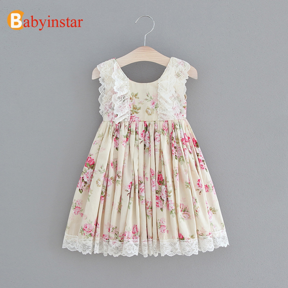 Babyinstar Baby Girls Princess Dresses  Floral Print Sleeveless Lace Toddler Children Clothing Kids Dresses For Girls