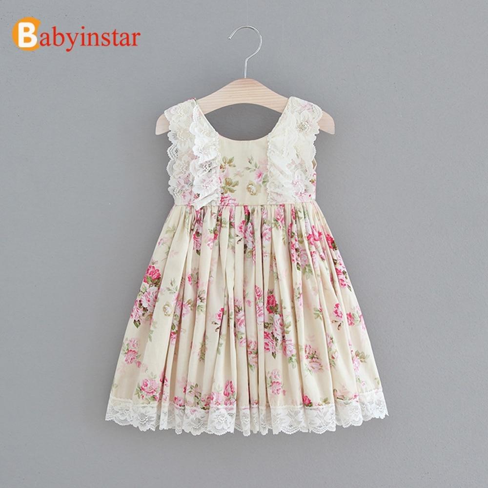 Babyinstar Baby Girls Princess Dresses  Floral Print Sleeveless Lace Toddler Children Clothing Kids Dresses For Girls