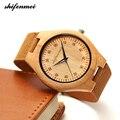 Zk30 деревянные часы  кварцевые часы для мужчин  бамбуковые современные наручные часы  аналоговые натуральные деревянные модные мягкие кожан...
