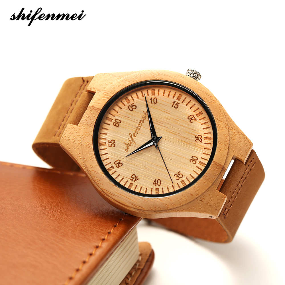 Zk30 Wooden Watches Quartz Watch Men Bamboo Modern Wristwatch Analog Nature Wood Fashion Soft Leather Creative Birthday Gifts