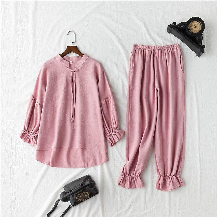 Image 5 - Daeyard 100% Cotton Pajama Sets Women Vintage Long Sleeve Shirts and Trousers 2Pcs Soft Pyjamas Sleepwear Cute Pullovers Suit-in Pajama Sets from Underwear & Sleepwears