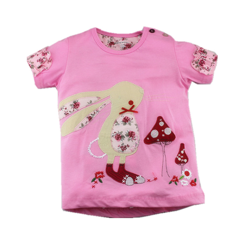 Little Maven New Summer Brand ChildrenTshirt Lovely Pink Patch Character Rabbit O-neck Short Quality Cotton Girls Casual Tshirt