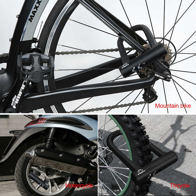 INBIKE Sepeda U Lock Anti-Theft MTB ROAD Sepeda Kunci Sepeda Bersepeda Aksesoris Baja Tugas Berat Keamanan Sepeda Kabel u-Kunci Set