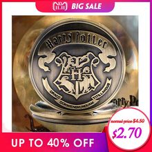 Harry Potter Sweater Necklace Hogwarts Slytherin Ravenclaw Clock Retro Snitch Quidditch The Deathly Hallows Quartz Pocket Watch(China)