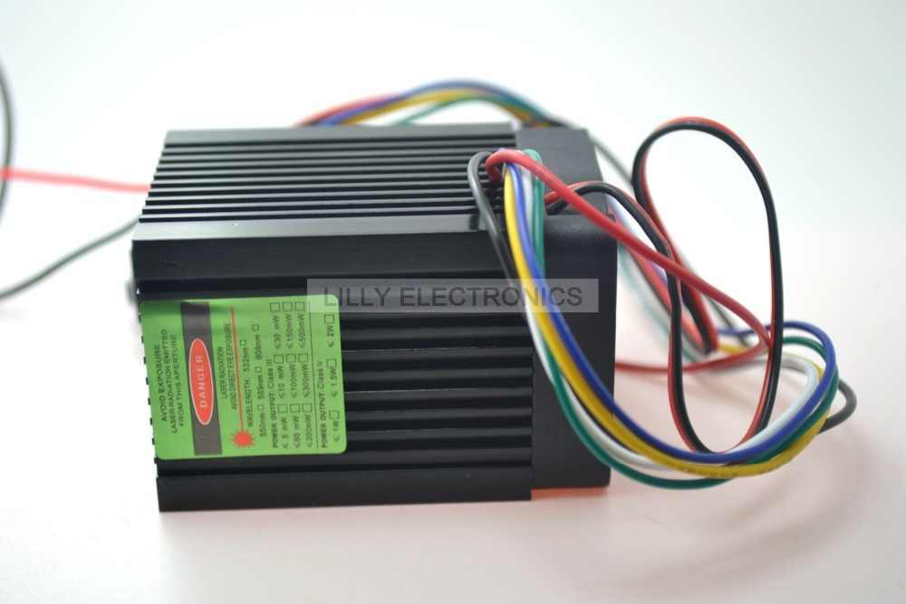 12 V 532nm 200 mw зеленый лазерный точечный модуль Вентилятор охлаждения ttl 0-30khz-долгое время работы