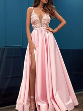Smileven Side Split Formal Evening Dresses 3D Flowers Spaghetti Strap Pink Evening Gowns Sexy Beaded Party Prom Gowns цена и фото