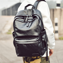 New leisure men and women backpack travel backpack PU soft leather college students school bag computer tide  bagbackpack men