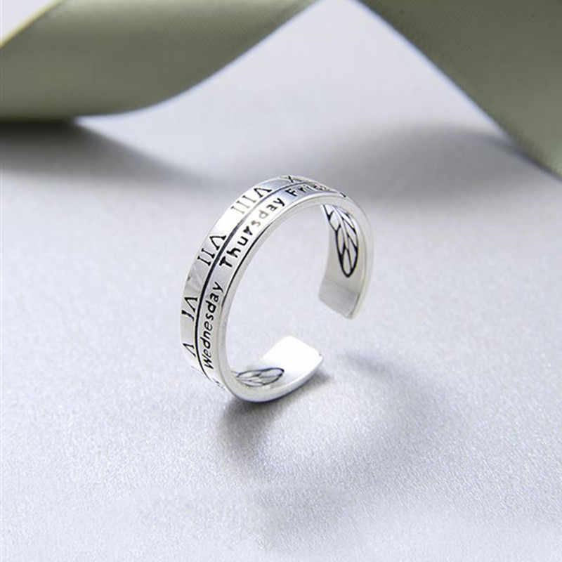 ANENJERY 925 srebro pierścionki dla kobiet nowość cyfry rzymskie tydzień dni pierścień regulowany biżuteria koreańska S-R402