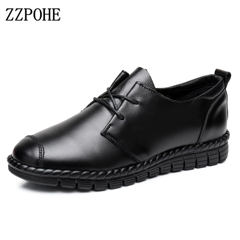 ZZPOHE Shoes Woman 2017 Spring Autumn Genuine Leather Women Lace-Up Flats Shoes Women's Fashion Soft Casual Slip-On Single shoes fashion bow tie women shoes 2017 spring autumn slip on woman genuine leather single shoes solid casual flat shoes size 35 40