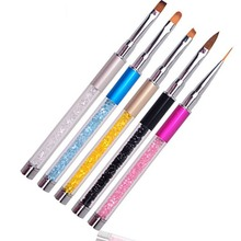 Nail Art Acrylic Handle Brush Metal Pen Rhinestone Diamond Carving Powder Gel Liquid Salon Liner Brush M2