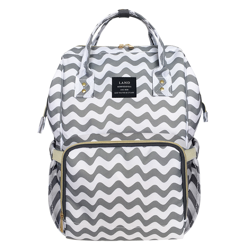 Grey Striped Mother Maternity Bag Baby Nappy Bag Large Space Travel Backpack Diaper Organizer Baby Care Nursing Bag For Stroller