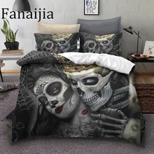Fanaijia Sugar skull Bedding Sets king beauty kiss skull Duvet Cover Bed Set Bohemian Print Black Bedclothes queen size bedline cheap 1 5KG 133 * 76 Printed 300TC Grade A None Knitted 1 8m (6 feet) 1 35m (4 5 feet) 1 5m (5 feet) 2 0m (6 6 feet) Microfiber Fabric