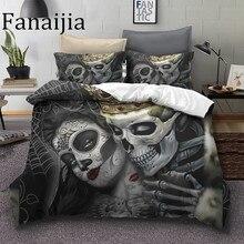 Fanaijia azúcar cráneo juego de cama king beauty kiss skull funda de edredón juego de cama Bohemia impresión negro ropa de cama queen size cama