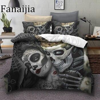Fanaijia 설탕 해골 침구 세트 킹 뷰티 키스 해골 이불 커버 침대 세트 보헤미안 프린트 블랙 침구 퀸 사이즈 침대 라인