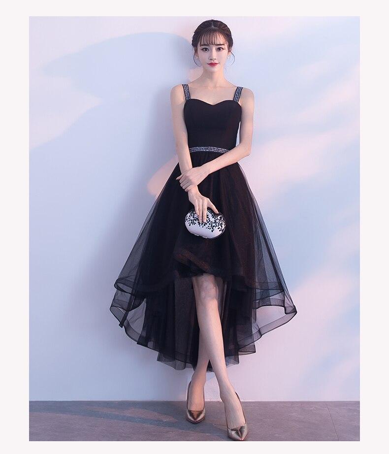 e0edf4d6501b48 High Low Black Sweetheart Prom Dresses 2018 Elegant Shoulder Straps  Sleeveless Short Prom Dresses Lace Up Back