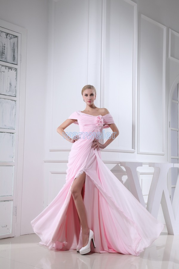 free shipping 2015 new design hot sexy flowers fashion a-line brides long custom pink chiffon short sleeve sexy   prom     dresses