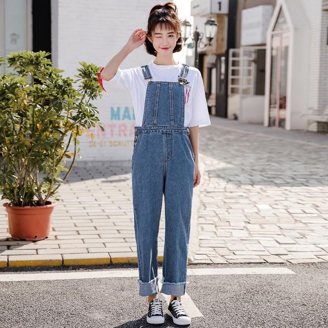 Wide Leg Jeans Pants Rompers Women Loose Denim Jumpsuits Crimping
