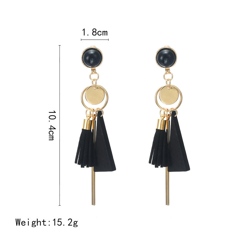 Personality Fashion triangle geometric wood earrings Retro female tassel long women earrings Jewelry 1