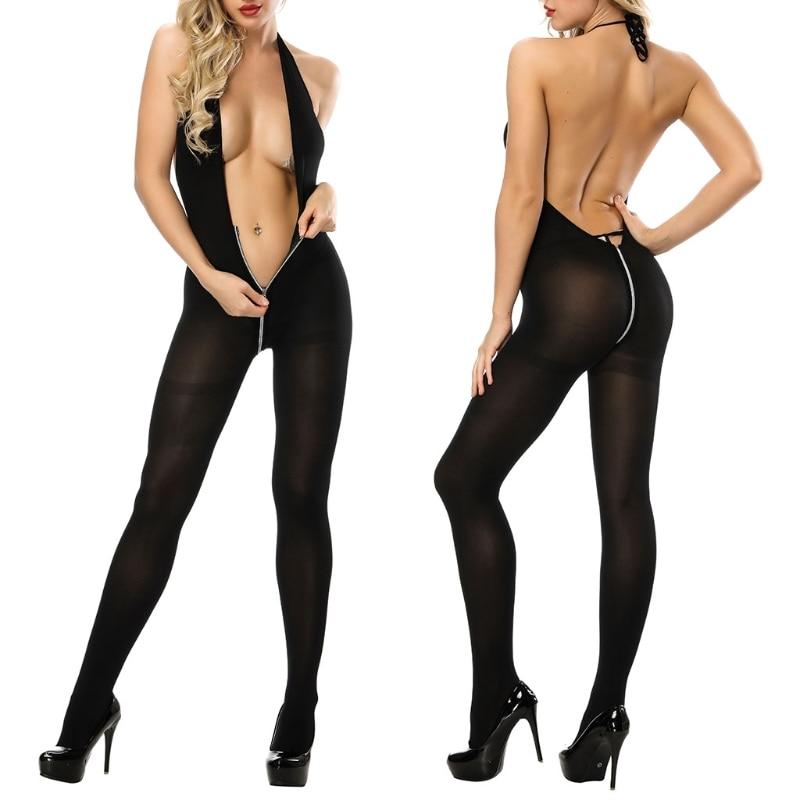 Womens Sexy Backless Lingerie Halter Bodystocking See Through Zipper Nylon Underwear Sex Toy