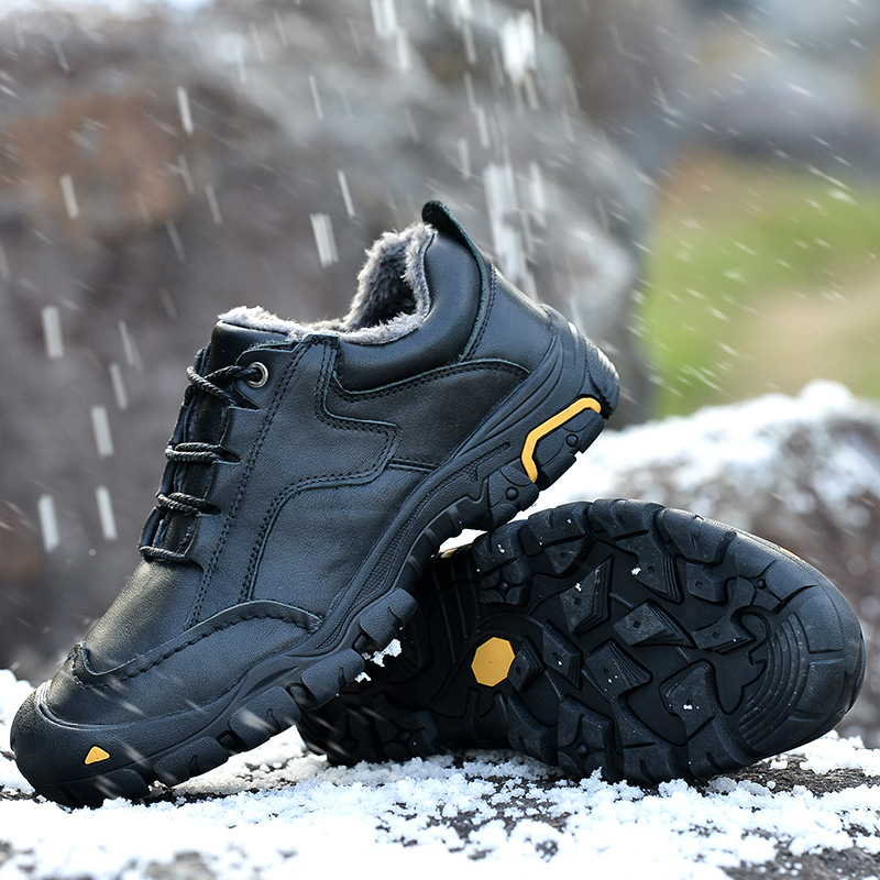 KESMALL 100 Top Layer Cowhide Men Shoes Winter With Fur Warm Snow Boots Outdoor Hiking Walking