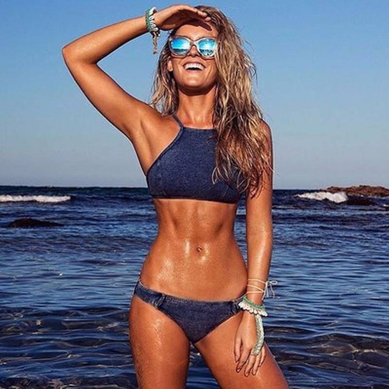 2018 Newest Jean Styel Women's Swimming Suit Denim <font><b>Bikinis</b></font> Women <font><b>Sexy</b></font> Swimming Suit For Women <font><b>Bikinis</b></font> Women S-<font><b>XL</b></font> image