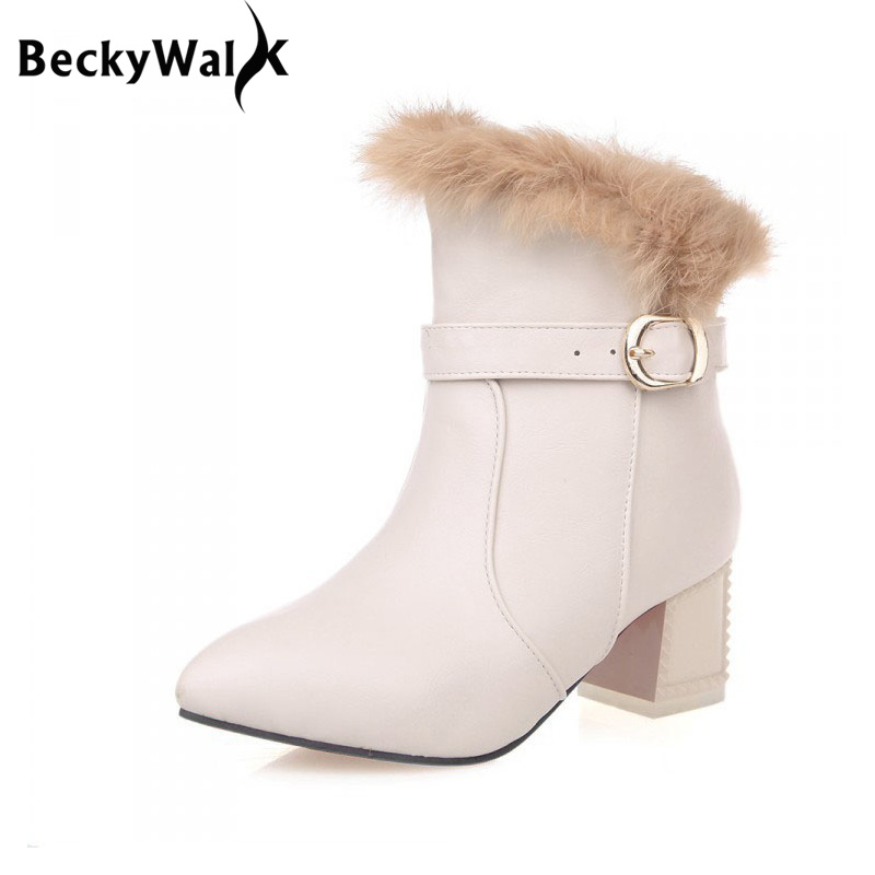 Medium Heels PU Leather Women Boots Winter Plus Size EU34-43 Fashion Rabbit Fur Pointed Toe Ankle Boots Black Red White WSH984 size 34 39 advanced pu leather ankle pointed toe zip thin high heels boots for women black white red new fashion boots