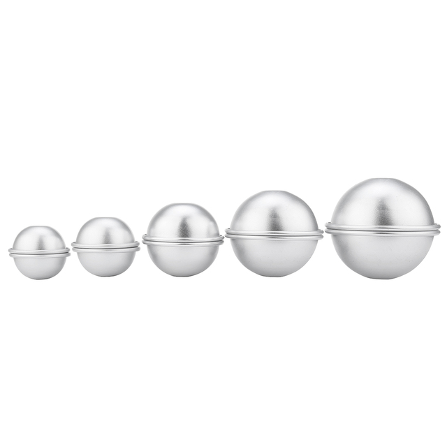 10pcs/pack Metal Aluminum Alloy Bath Bomb Mold 4.5cm 5.5cm 6.5cm 7cm 8cm 3D Ball Sphere Shape DIY Bathing Tool Accessories 1