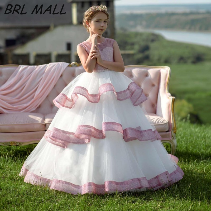Custom Made 2019 White Flower Girl Dresses for weddings Layered Tulle Kids Ball Gowns Floor Length pageant dresses for girls