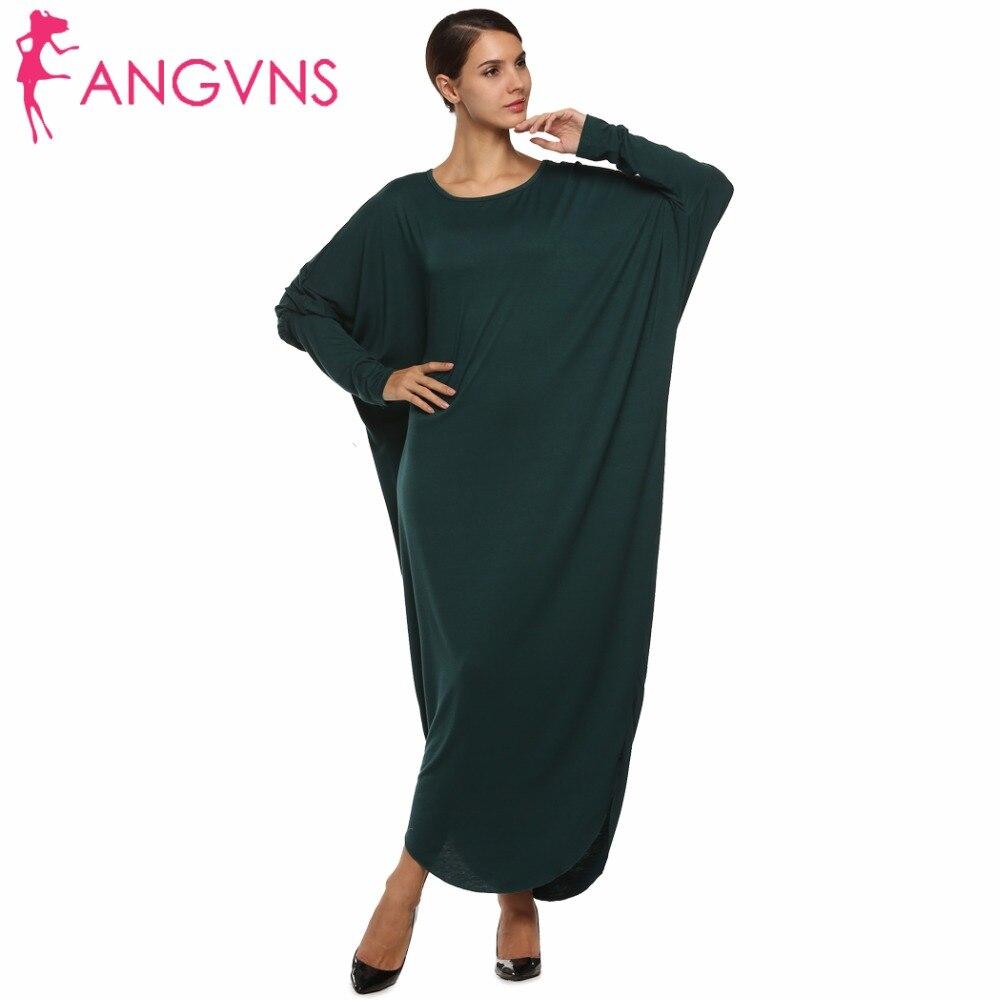 Angvns Femmes Casual Chauve-Souris Manches Maxi Robe De Mode Jersey Lâche Robes 2017 Printemps Automne Hiver Robe Longue Femme Robes