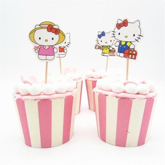 24pcs Cartoon Hello kitty Cupcake Toppers Pick Funny Kids Birthday