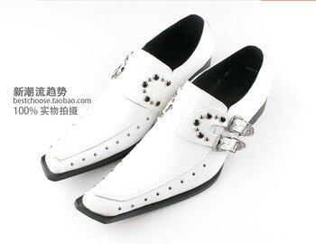White color men's good quality slip on flats formal square toe genuine leather oxfords business men's fashion shoes plus szie 46