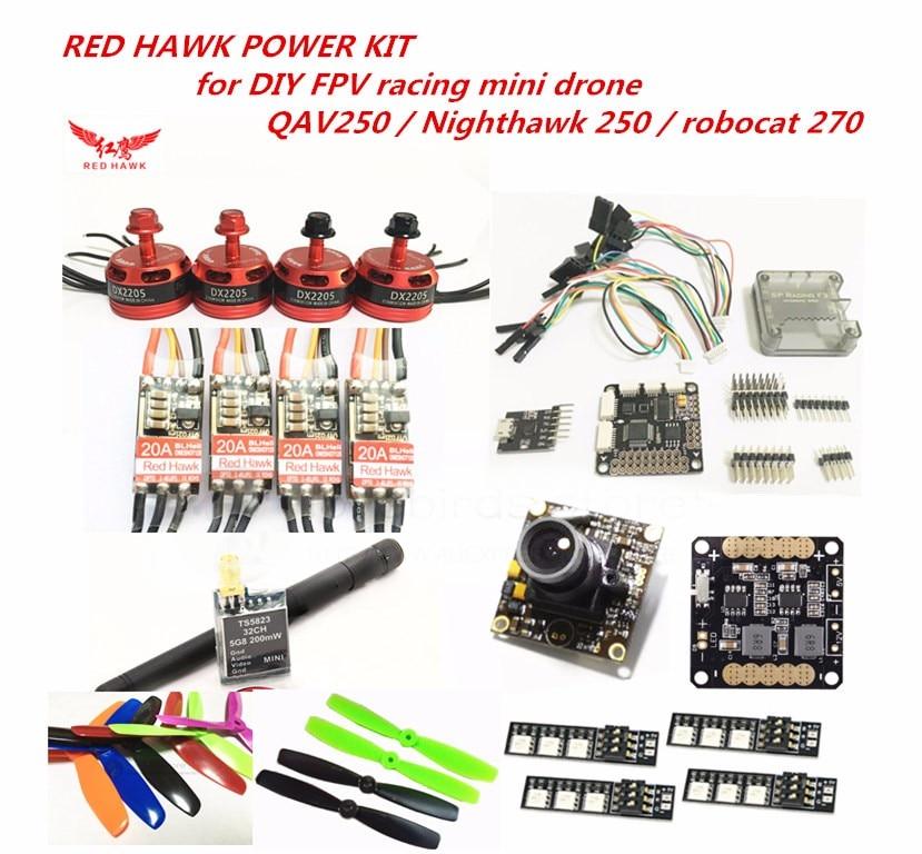 RED HAWK power kit DX2205 KV2300 motor + BL20A mini ESC + 700TVL camera for DIY FPV mini drone QAV250 Nighthawk 250 Robocat 270 diy fpv mini drone power kit d2204 2300kv motor emax blheli 12a esc 5045 6045 propellers for qav250 zmr250 robocat 270