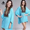 WomensDate New Arrived Plus Size Vintage Bohemian Handmade Embroidery Bead V Neck Summer T Shirt Women Top Blusas Femininas