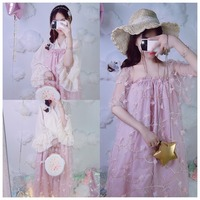 Multi Wear Method Fairy Three Dimensional Flowers Pink Short Sleeved Dress Also Can Be Jacket Skirt