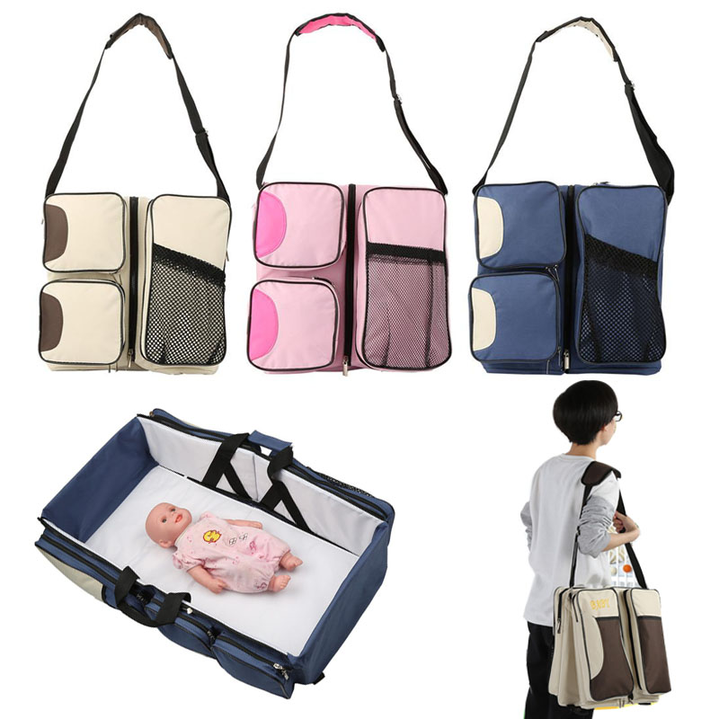 3 In 1 Waterproof Baby Travel Crib Changing Diapers Foldable Mummy Shoulder Bag Baby Nappy Bag Bassinet Crib Diapers ToteDiaper Bags   -