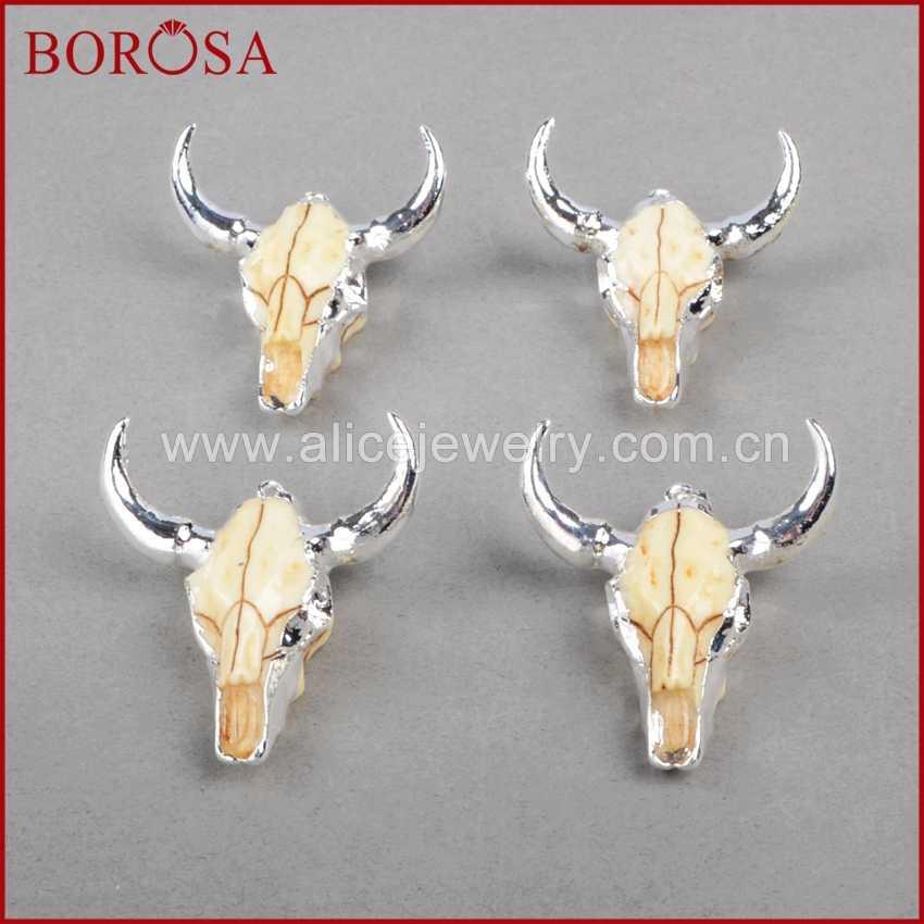 BOROSA แฟชั่น BUFFALO ลูกปัด,เงินสี Bull วัว Charm ลูกปัด Longhorn เรซิ่นฮอร์นวัวจี้สำหรับเครื่องประดับ S842