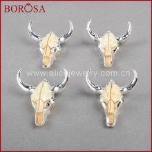 Модная бусина borosa с головой буйвола серебряного цвета шармом