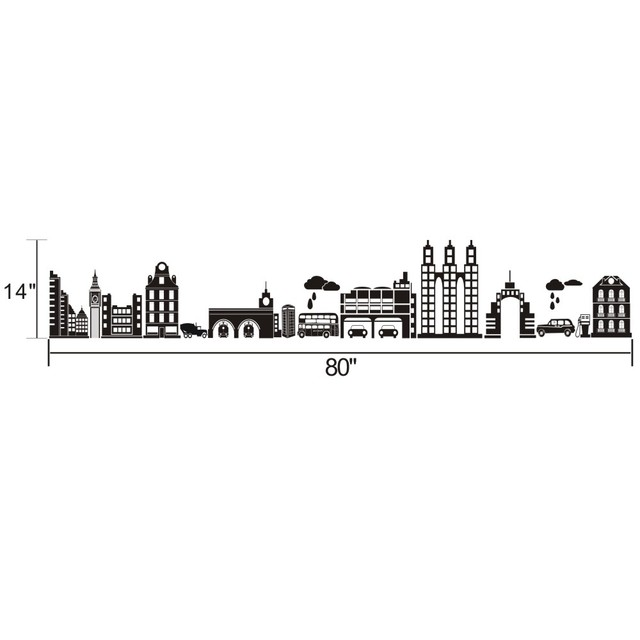 Battoo Cityscape Travel Stickers London City Skyline Decal Wall Art Sticker Decor Home