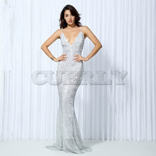 CUERLY . Elastic Sequin V Collar Exposed Back Long Dress NAVY SILVER PINK BLACK RED Champagne dress