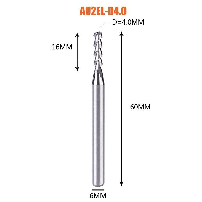 1 pc 3 флейты фрезы вольфрамового сплава концом ЧПУ фреза алюминий фреза для алюминия и деревообрабатывающие - Длина режущей кромки: 1PC-AU2EL-D4.0-H6