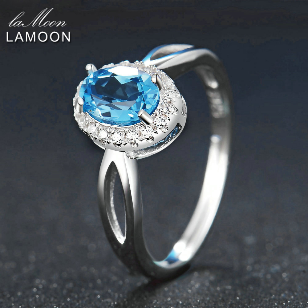 Lamoon Classic 5x7mm 100% Natural Oval Blue Topaz 925 Sterling Silver Jewelry Platinum Wedding Ring S925 LMRI030